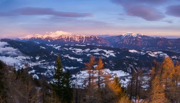 Wintermorgen Rax und Schneeberg