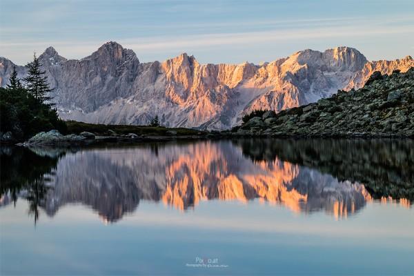 Sonnenuntergang am Spiegelsee, Steiermark
