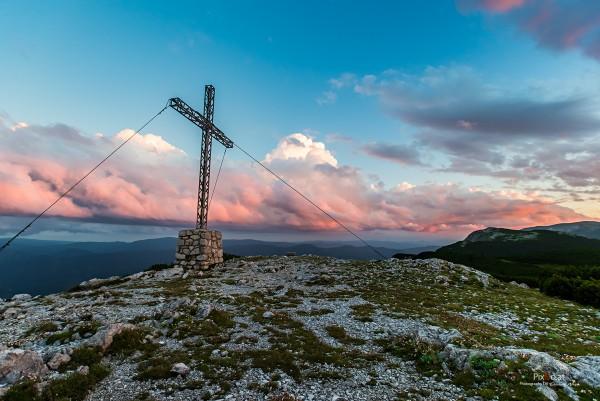Sonnenuntergang am Rax-Gipfel