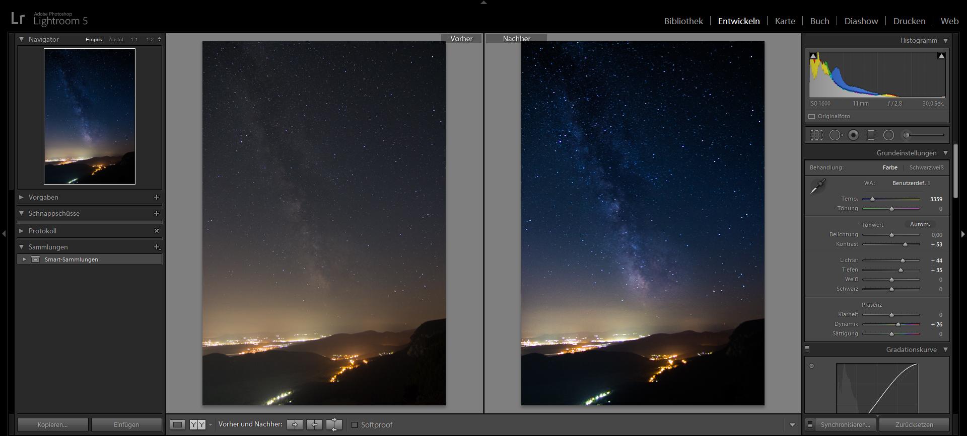 Milchstraßenfotos mit Adobe Lightroom bearbeiten