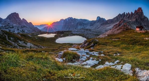 Sonnenaufgang drei Zinnen, Dolomiten